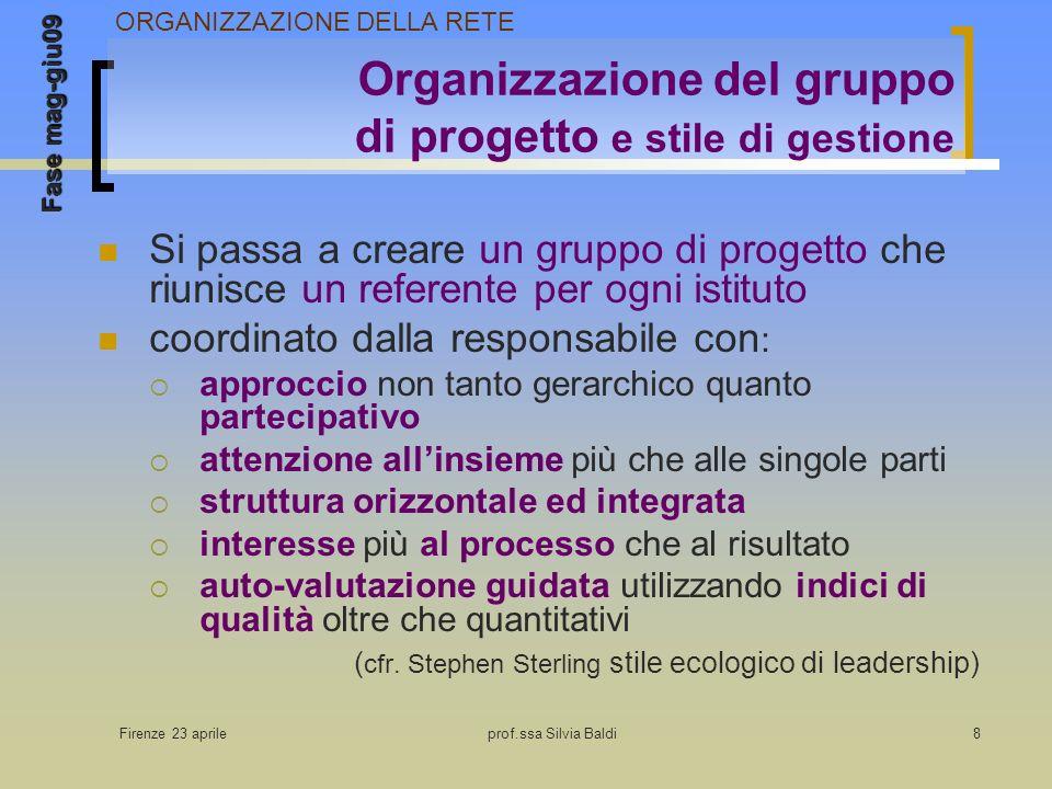 Firenze 23 aprileprof.ssa Silvia Baldi8 Organizzazione del gruppo di progetto e stile di gestione Si passa a creare un gruppo di progetto che riunisce