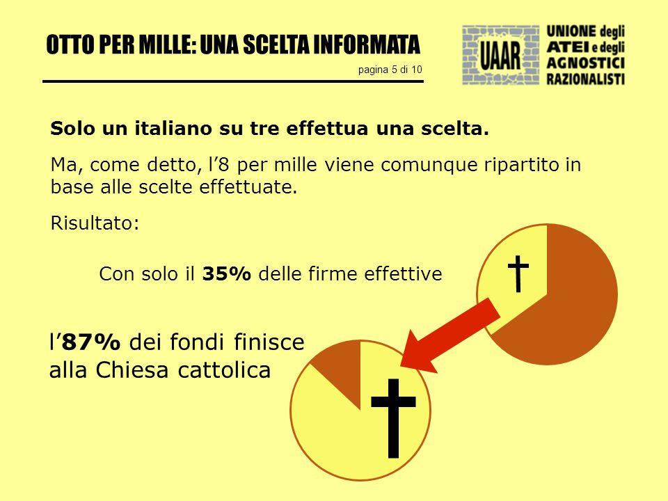 OTTO PER MILLE: UNA SCELTA INFORMATA pagina 5 di 10 Solo un italiano su tre effettua una scelta. Ma, come detto, l8 per mille viene comunque ripartito