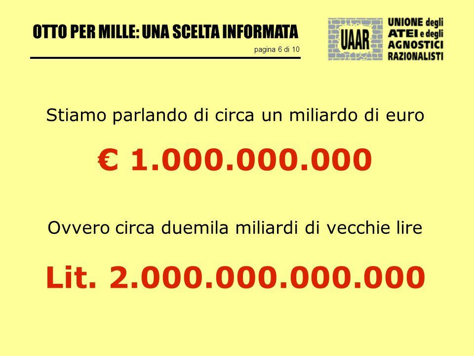 OTTO PER MILLE: UNA SCELTA INFORMATA pagina 6 di 10 1.000.000.000 Stiamo parlando di circa un miliardo di euro Ovvero circa duemila miliardi di vecchie lire Lit.