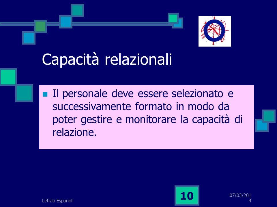 07/03/2014 10 Capacità relazionali Il personale deve essere selezionato e successivamente formato in modo da poter gestire e monitorare la capacità di relazione.
