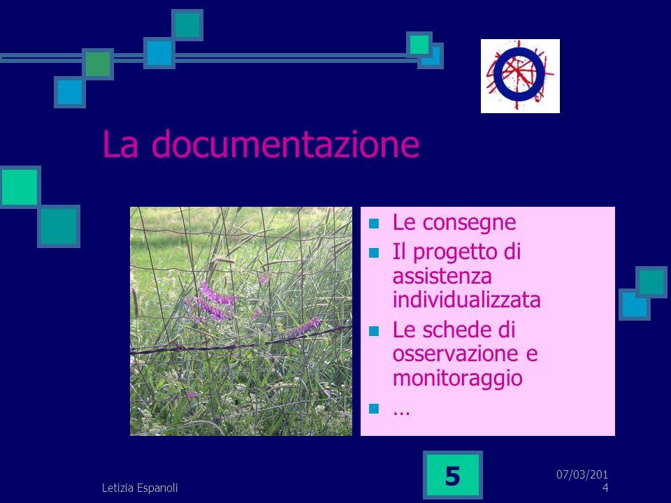 07/03/2014 Letizia Espanoli 5 La documentazione Le consegne Il progetto di assistenza individualizzata Le schede di osservazione e monitoraggio …