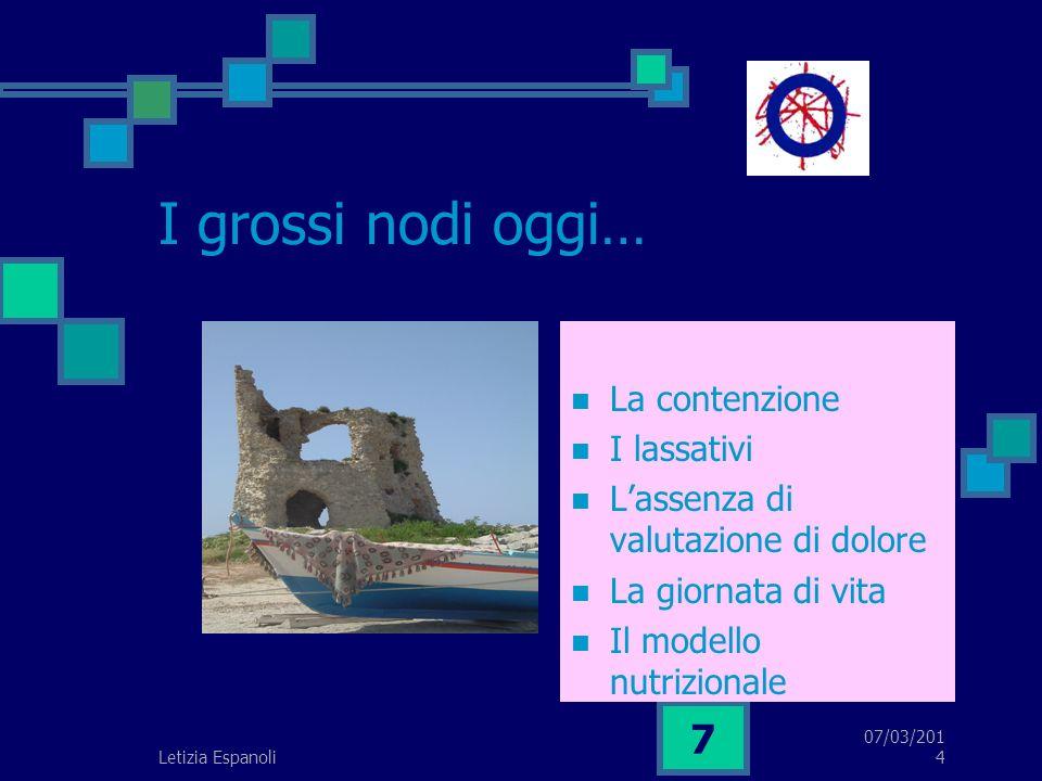 07/03/2014 7 I grossi nodi oggi… La contenzione I lassativi Lassenza di valutazione di dolore La giornata di vita Il modello nutrizionale