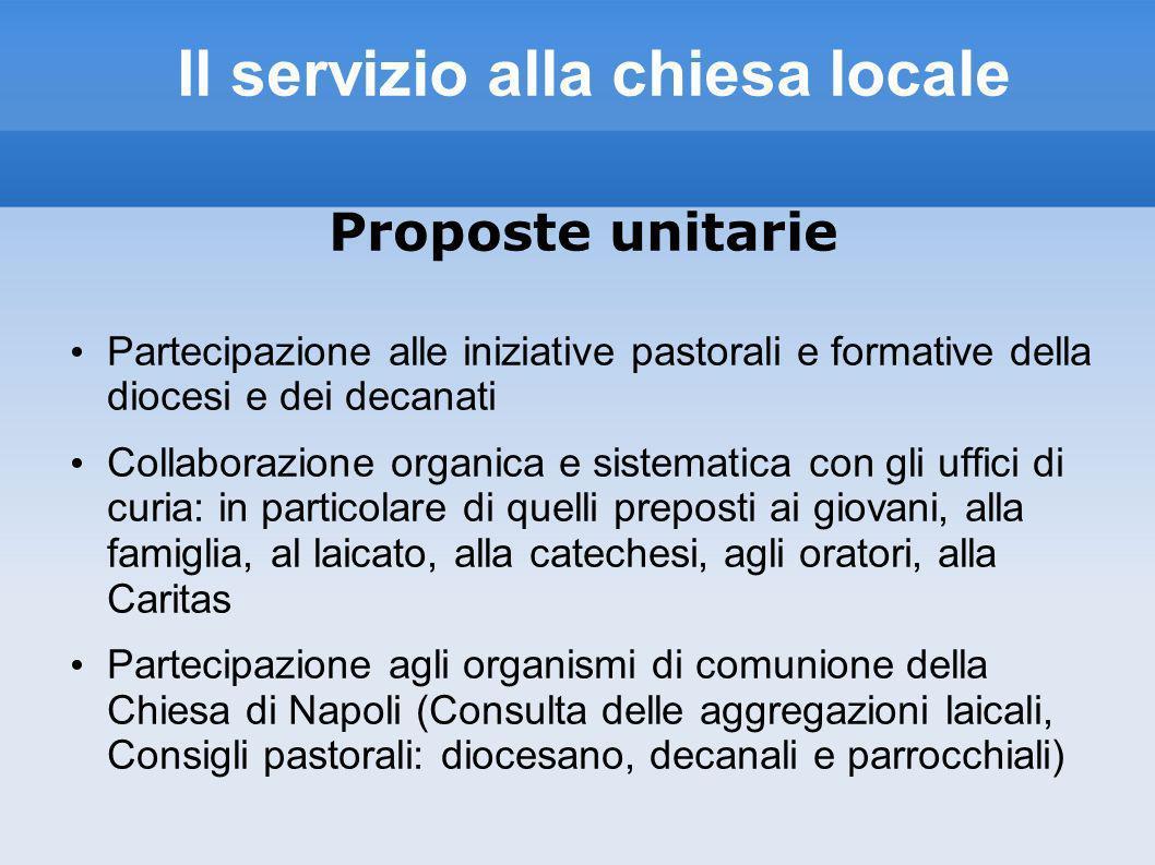 Il servizio alla chiesa locale Proposte unitarie Partecipazione alle iniziative pastorali e formative della diocesi e dei decanati Collaborazione orga