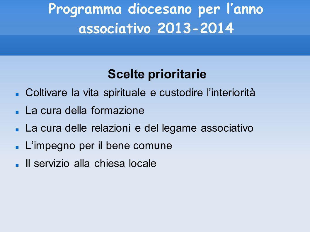 Programma diocesano per lanno associativo 2013-2014 Scelte prioritarie Coltivare la vita spirituale e custodire linteriorità La cura della formazione