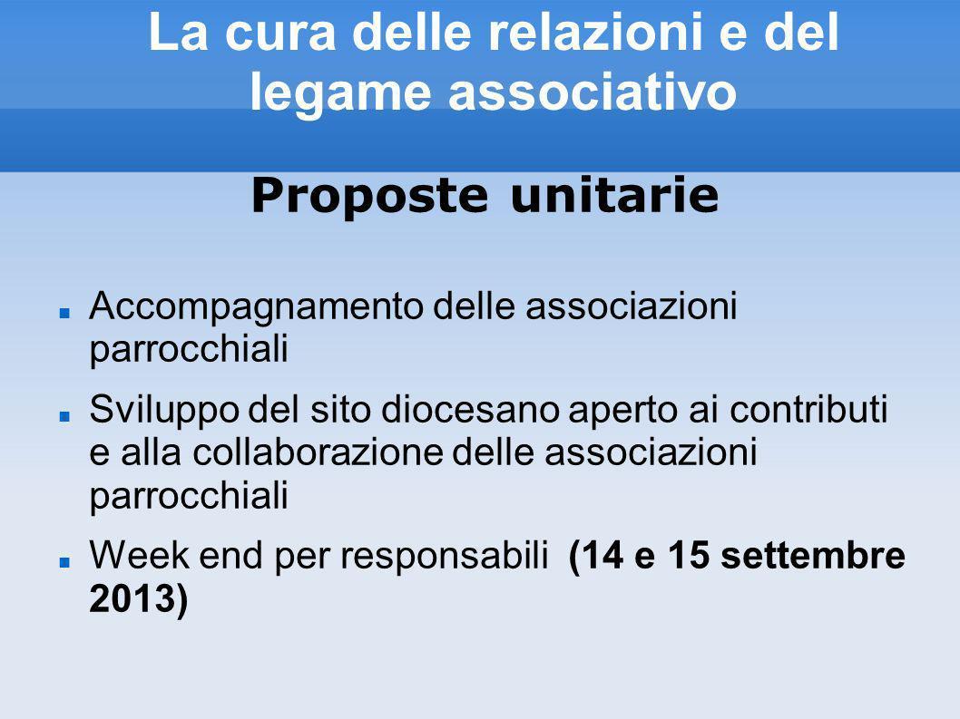 La cura delle relazioni e del legame associativo Proposte unitarie Accompagnamento delle associazioni parrocchiali Sviluppo del sito diocesano aperto