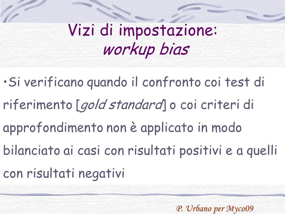 P. Urbano per Myco09 Avoidance of workup bias Si verificano quando il confronto coi test di riferimento [gold standard] o coi criteri di approfondimen