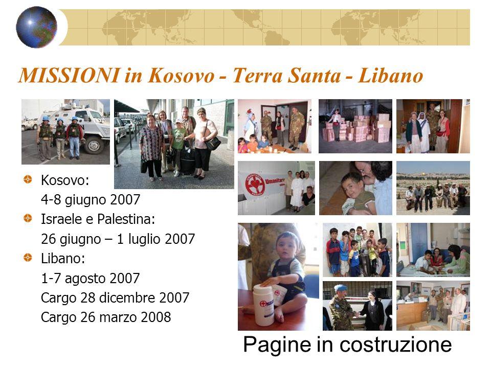 MISSIONI in Kosovo - Terra Santa - Libano Kosovo: 4-8 giugno 2007 Israele e Palestina: 26 giugno – 1 luglio 2007 Libano: 1-7 agosto 2007 Cargo 28 dice