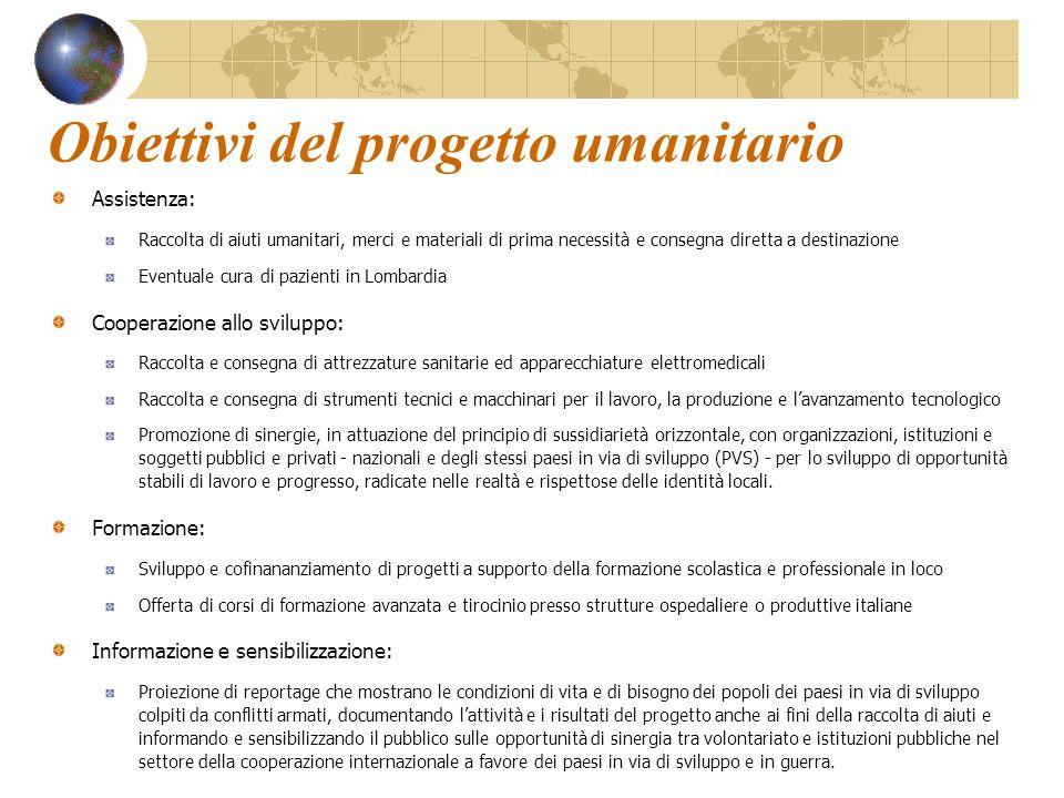 Obiettivi del progetto umanitario Assistenza: Raccolta di aiuti umanitari, merci e materiali di prima necessità e consegna diretta a destinazione Even