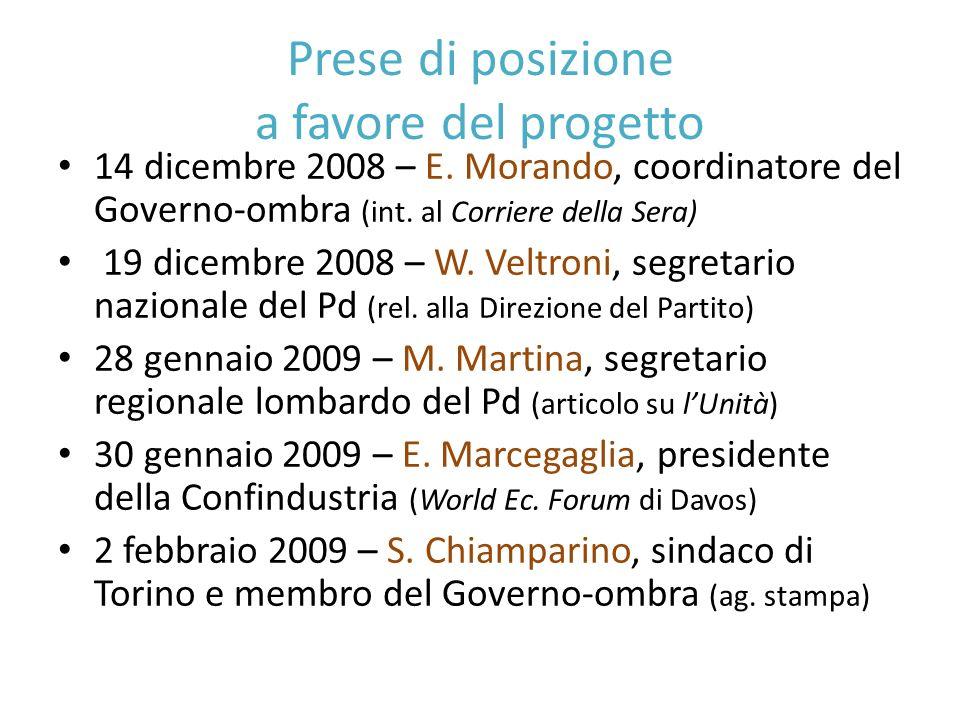 Prese di posizione a favore del progetto 14 dicembre 2008 – E.