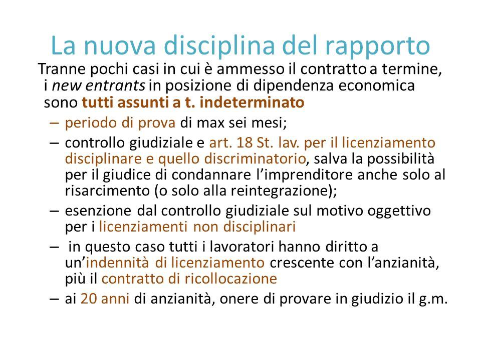La nuova disciplina del rapporto Tranne pochi casi in cui è ammesso il contratto a termine, i new entrants in posizione di dipendenza economica sono tutti assunti a t.