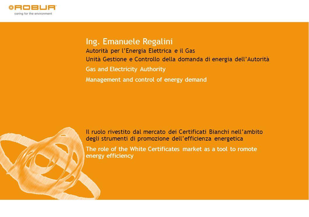 Ing. Emanuele Regalini Autorità per lEnergia Elettrica e il Gas Unità Gestione e Controllo della domanda di energia dellAutorità Gas and Electricity A