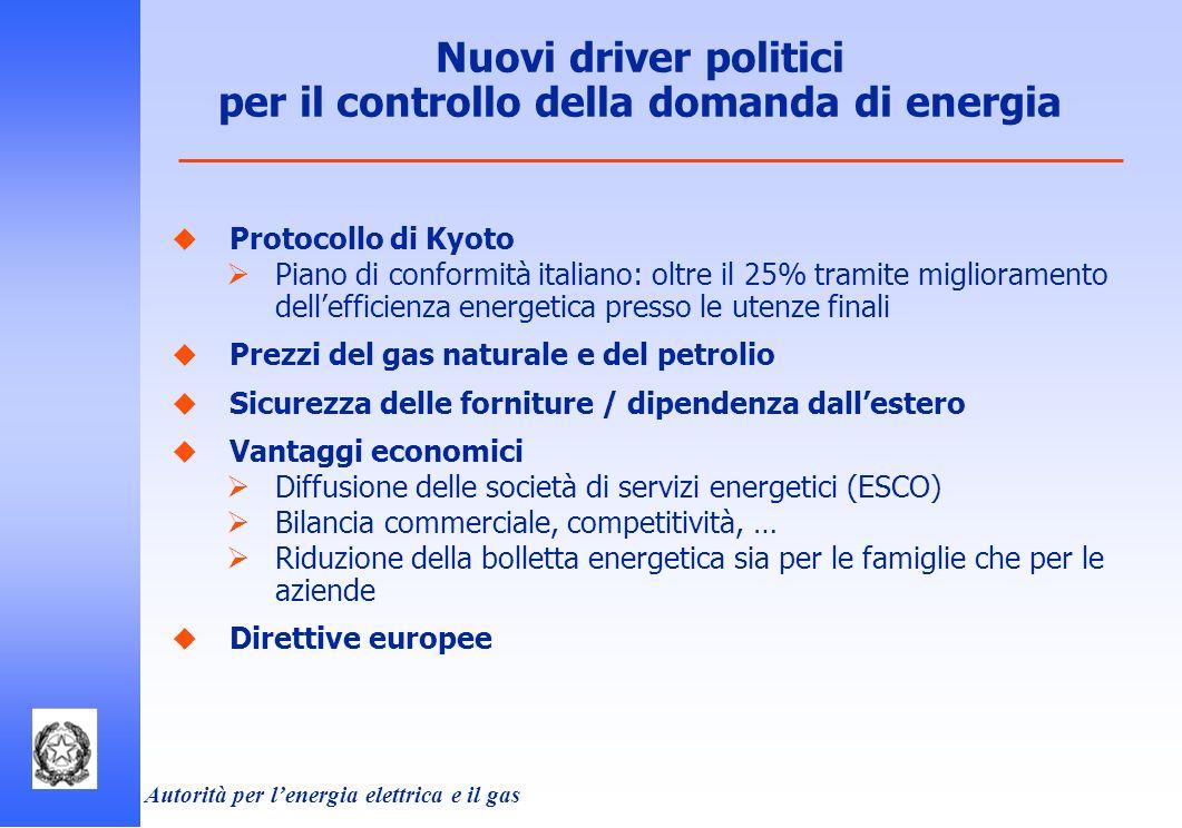 Autorità per lenergia elettrica e il gas Nuovi driver politici per il controllo della domanda di energia Protocollo di Kyoto Piano di conformità itali