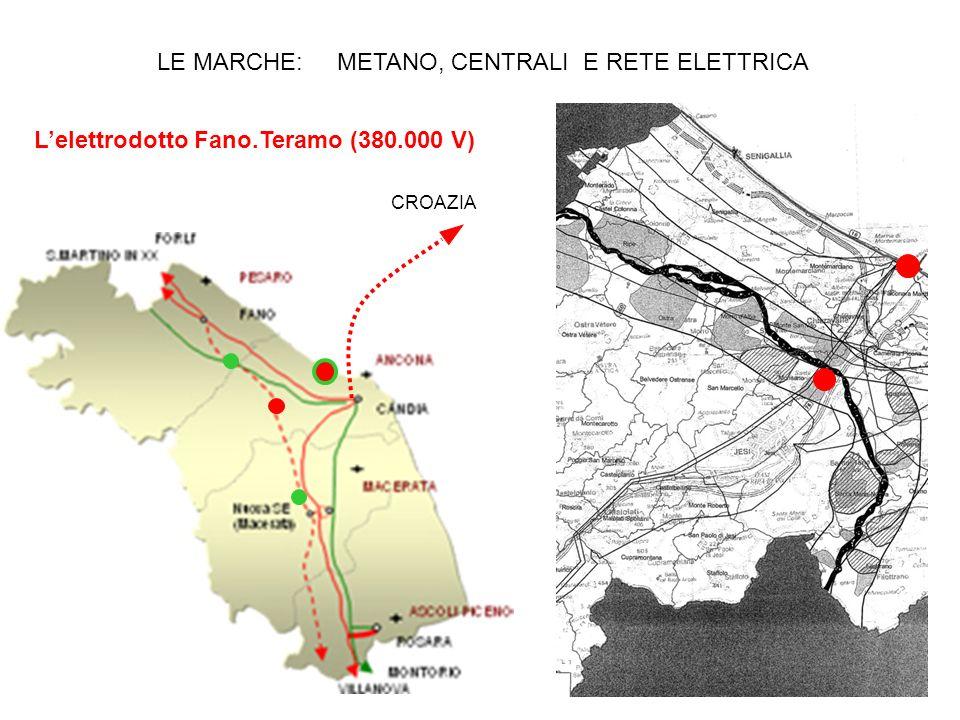 CROAZIA LE MARCHE: METANO, CENTRALI E RETE ELETTRICA Lelettrodotto Fano.Teramo (380.000 V)