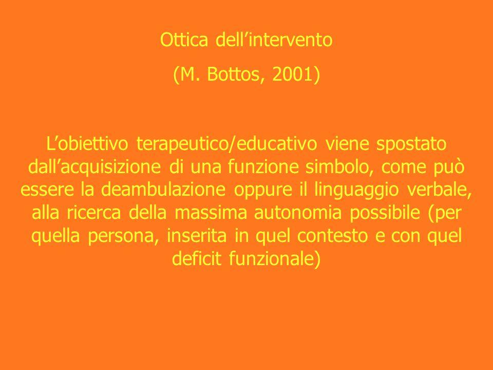 Ottica dellintervento (M. Bottos, 2001) Lobiettivo terapeutico/educativo viene spostato dallacquisizione di una funzione simbolo, come può essere la d