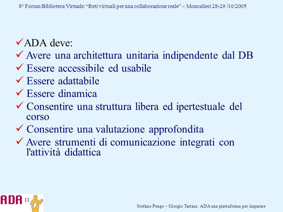 11 Stefano Penge – Giorgio Tartara: ADA una piattaforma per imparare 8° Forum Biblioteca Virtuale: Reti virtuali per una collaborazione reale – Moncal