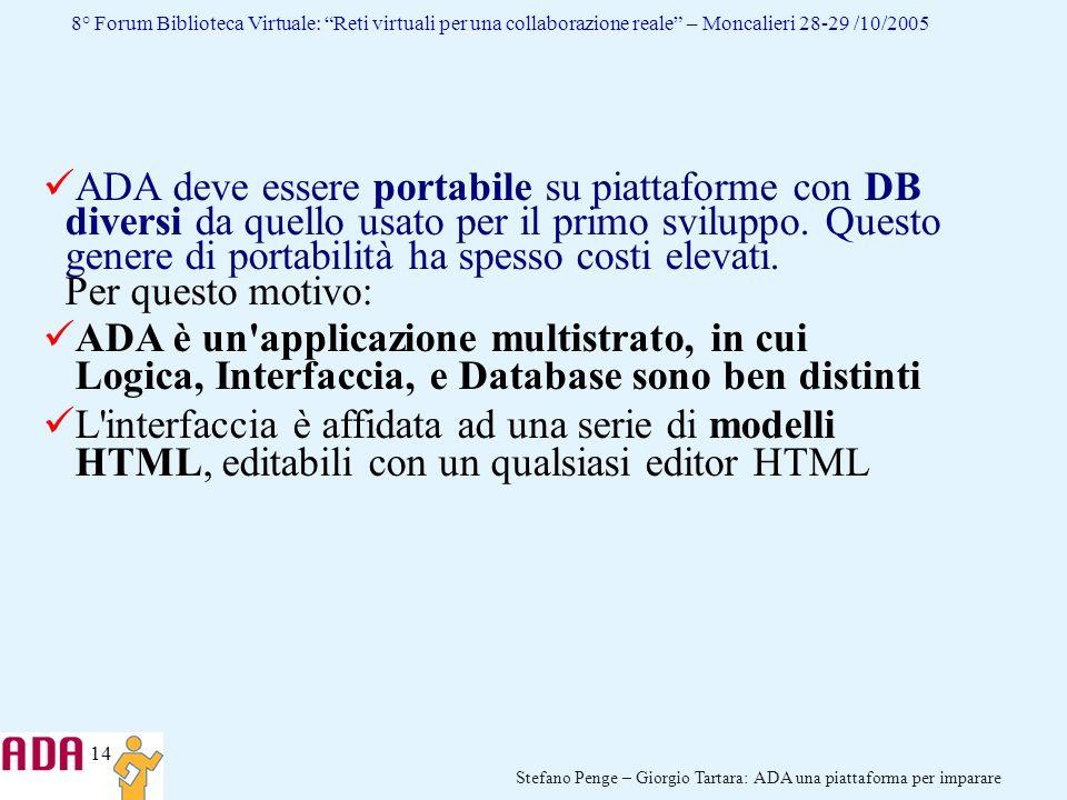14 Stefano Penge – Giorgio Tartara: ADA una piattaforma per imparare 8° Forum Biblioteca Virtuale: Reti virtuali per una collaborazione reale – Moncal