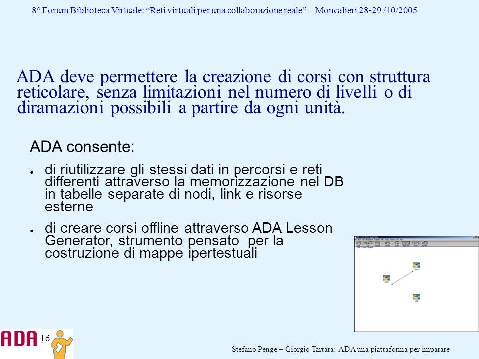 16 Stefano Penge – Giorgio Tartara: ADA una piattaforma per imparare 8° Forum Biblioteca Virtuale: Reti virtuali per una collaborazione reale – Moncal