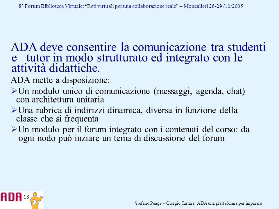 18 Stefano Penge – Giorgio Tartara: ADA una piattaforma per imparare 8° Forum Biblioteca Virtuale: Reti virtuali per una collaborazione reale – Moncal