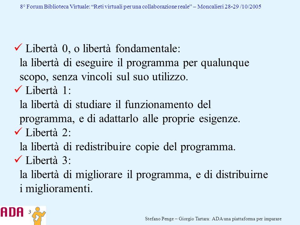 3 Stefano Penge – Giorgio Tartara: ADA una piattaforma per imparare 8° Forum Biblioteca Virtuale: Reti virtuali per una collaborazione reale – Moncali