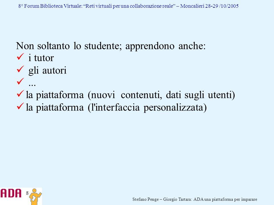8 Stefano Penge – Giorgio Tartara: ADA una piattaforma per imparare 8° Forum Biblioteca Virtuale: Reti virtuali per una collaborazione reale – Moncali