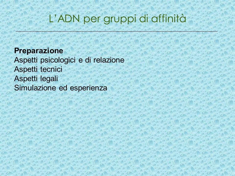 LADN per gruppi di affinità Preparazione Aspetti psicologici e di relazione Aspetti tecnici Aspetti legali Simulazione ed esperienza