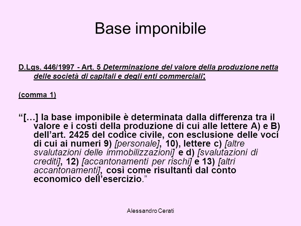 Alessandro Cerati Base imponibile D.Lgs. 446/1997 - Art. 5 Determinazione del valore della produzione netta delle società di capitali e degli enti com