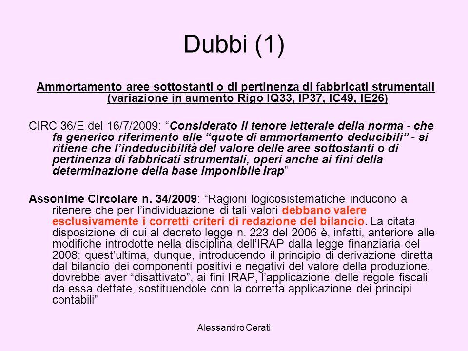 Alessandro Cerati Dubbi (1) Ammortamento aree sottostanti o di pertinenza di fabbricati strumentali (variazione in aumento Rigo IQ33, IP37, IC49, IE26