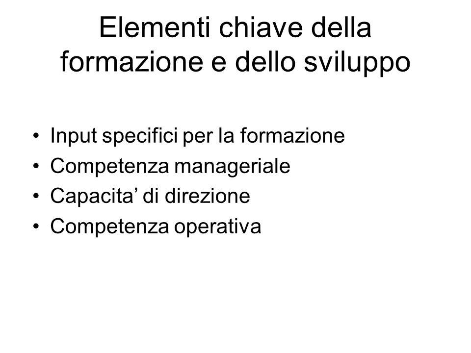 Elementi chiave della formazione e dello sviluppo Input specifici per la formazione Competenza manageriale Capacita di direzione Competenza operativa