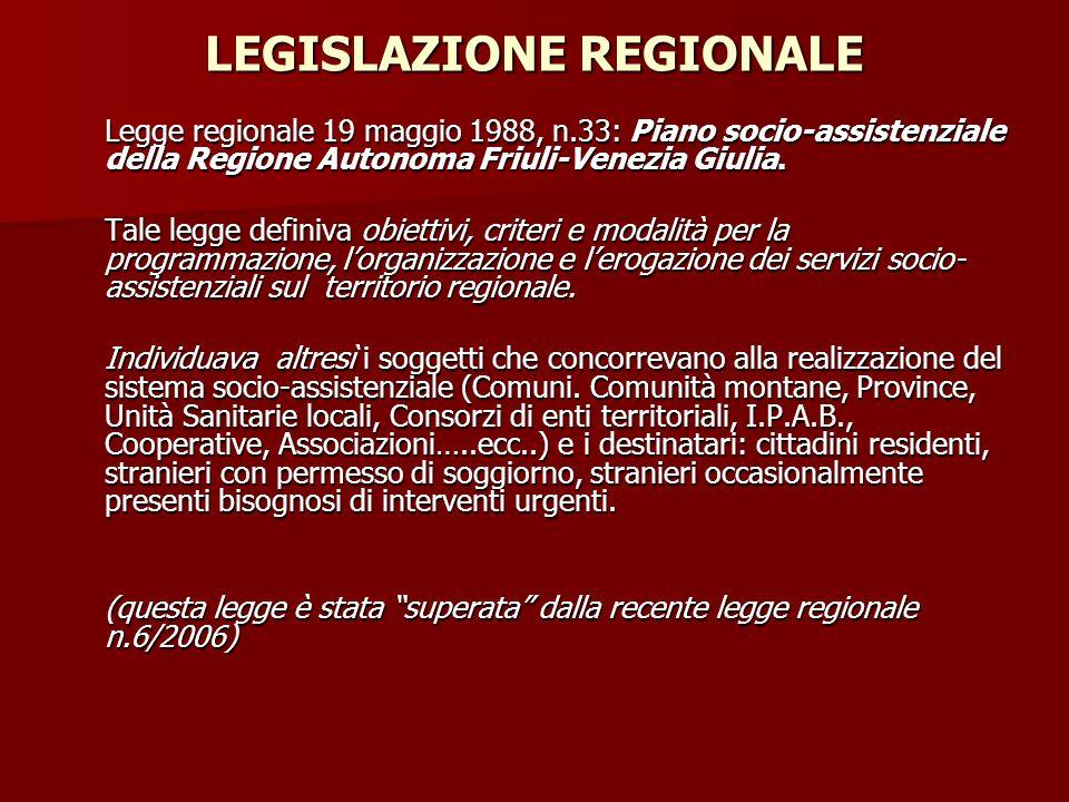 LEGISLAZIONE REGIONALE Legge regionale 19 maggio 1988, n.33: Piano socio-assistenziale della Regione Autonoma Friuli-Venezia Giulia. Tale legge defini