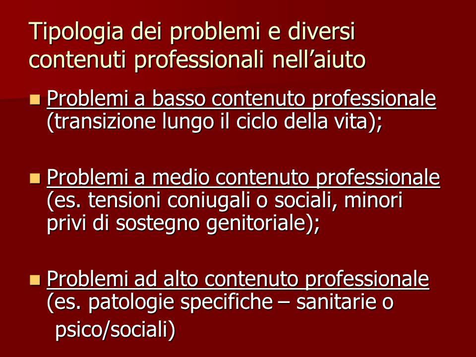 Tipologia dei problemi e diversi contenuti professionali nellaiuto Problemi a basso contenuto professionale (transizione lungo il ciclo della vita); P