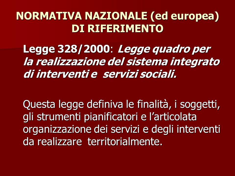 NORMATIVA NAZIONALE (ed europea) DI RIFERIMENTO Legge 328/2000: Legge quadro per la realizzazione del sistema integrato di interventi e servizi social