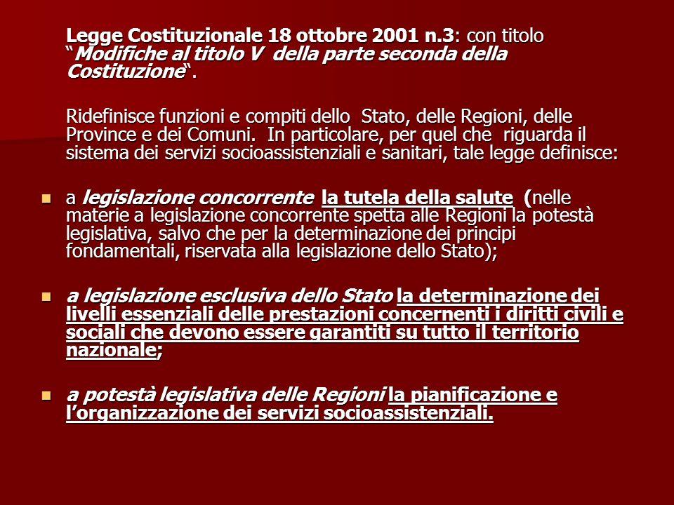 Legge Costituzionale 18 ottobre 2001 n.3: con titoloModifiche al titolo V della parte seconda della Costituzione. Ridefinisce funzioni e compiti dello