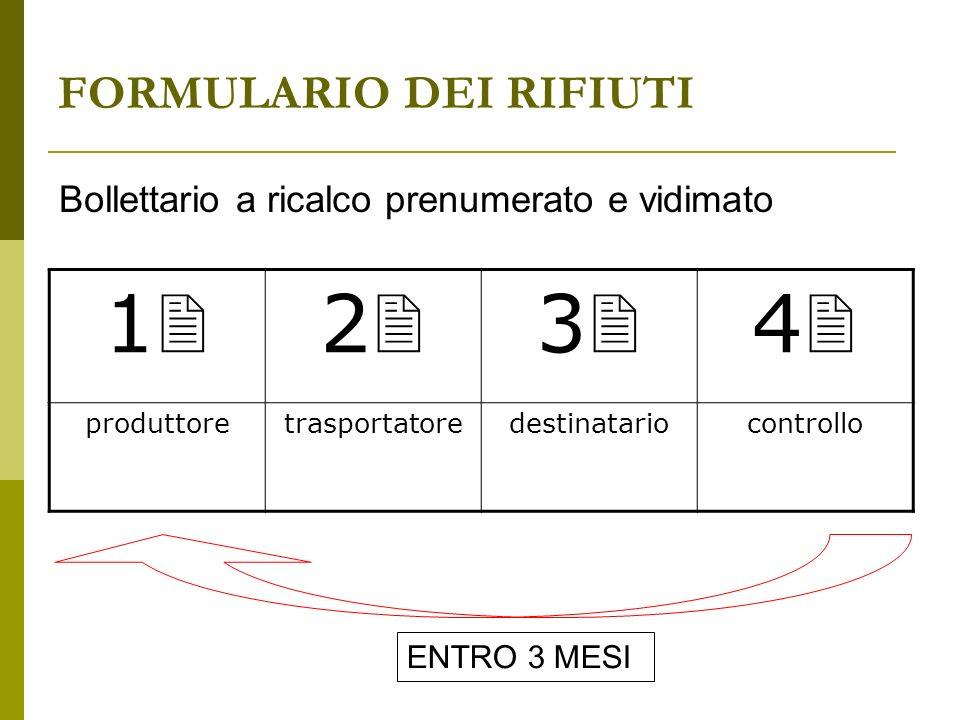 FORMULARIO DEI RIFIUTI 1 2 3 4 produttoretrasportatoredestinatariocontrollo Bollettario a ricalco prenumerato e vidimato ENTRO 3 MESI