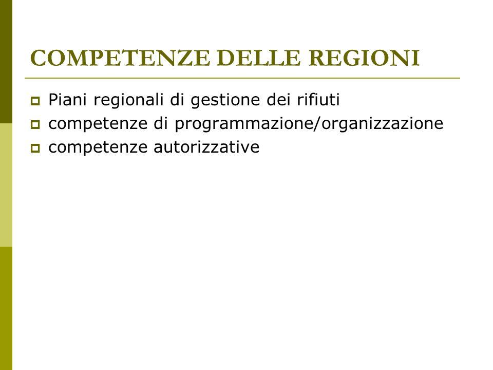 COMPETENZE DELLE REGIONI Piani regionali di gestione dei rifiuti competenze di programmazione/organizzazione competenze autorizzative