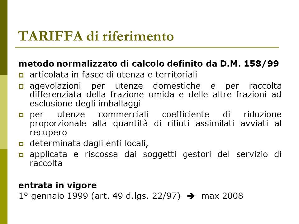 TARIFFA di riferimento metodo normalizzato di calcolo definito da D.M.