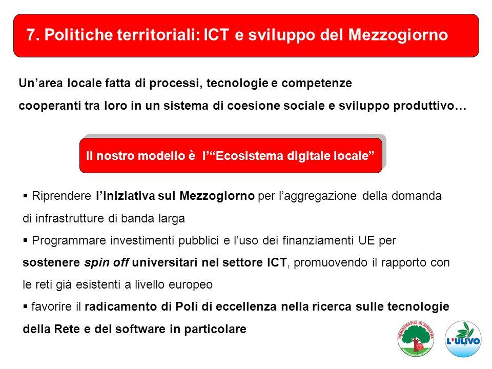 7. Politiche territoriali: ICT e sviluppo del Mezzogiorno Riprendere liniziativa sul Mezzogiorno per laggregazione della domanda di infrastrutture di