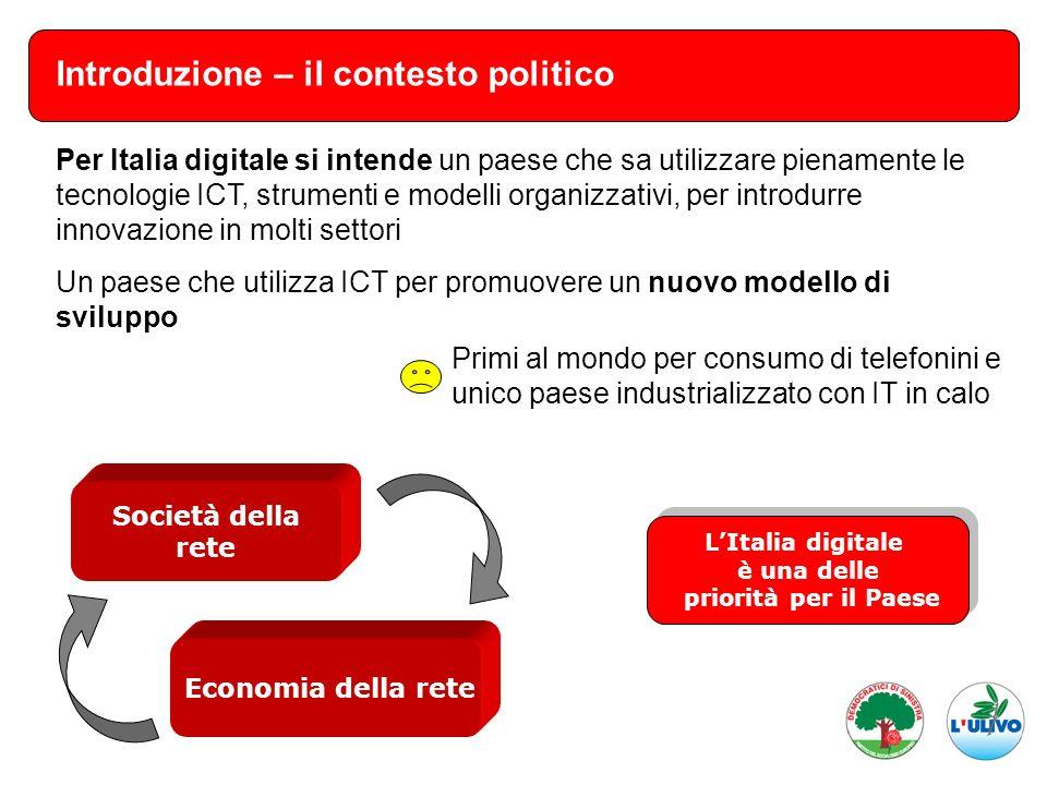 Introduzione – il contesto politico Per Italia digitale si intende un paese che sa utilizzare pienamente le tecnologie ICT, strumenti e modelli organi