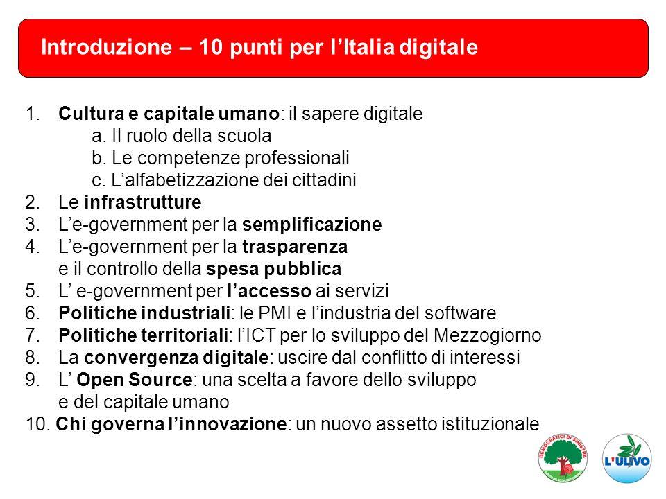 Introduzione – 10 punti per lItalia digitale 1. Cultura e capitale umano: il sapere digitale a. Il ruolo della scuola b. Le competenze professionali c