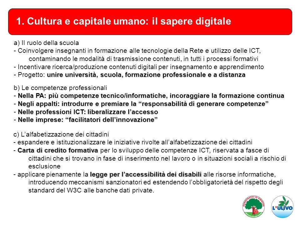 1. Cultura e capitale umano: il sapere digitale a) Il ruolo della scuola - Coinvolgere insegnanti in formazione alle tecnologie della Rete e utilizzo