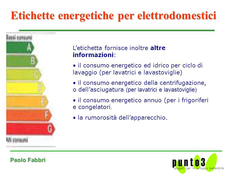 Paolo Fabbri Etichette energetiche per elettrodomestici Letichetta fornisce inoltre altre informazioni: il consumo energetico ed idrico per ciclo di lavaggio (per lavatrici e lavastoviglie) il consumo energetico della centrifugazione, o dellasciugatura (per lavatrici e lavastoviglie) il consumo energetico annuo (per i frigoriferi e congelatori.