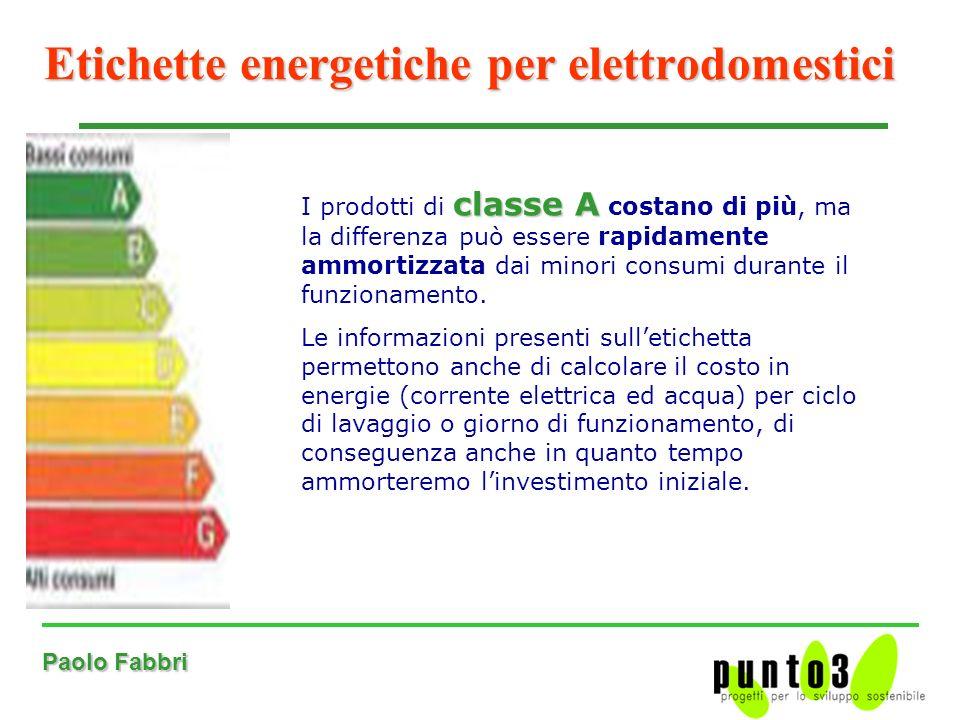 Paolo Fabbri Etichette energetiche per elettrodomestici classe A I prodotti di classe A costano di più, ma la differenza può essere rapidamente ammortizzata dai minori consumi durante il funzionamento.