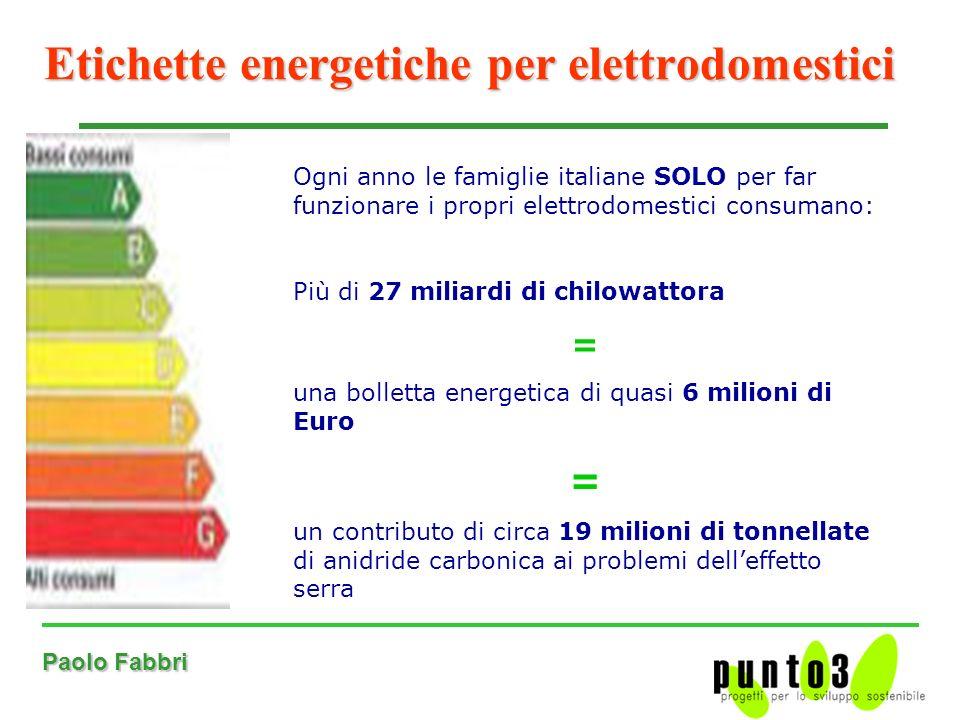 Paolo Fabbri Etichette energetiche per elettrodomestici Ogni anno le famiglie italiane SOLO per far funzionare i propri elettrodomestici consumano: Più di 27 miliardi di chilowattora = una bolletta energetica di quasi 6 milioni di Euro = un contributo di circa 19 milioni di tonnellate di anidride carbonica ai problemi delleffetto serra