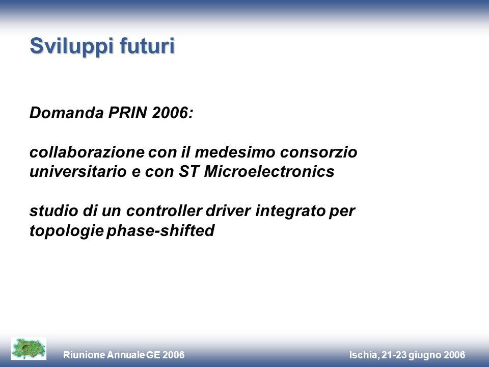 Ischia, 21-23 giugno 2006Riunione Annuale GE 2006 Sviluppi futuri Domanda PRIN 2006: collaborazione con il medesimo consorzio universitario e con ST M