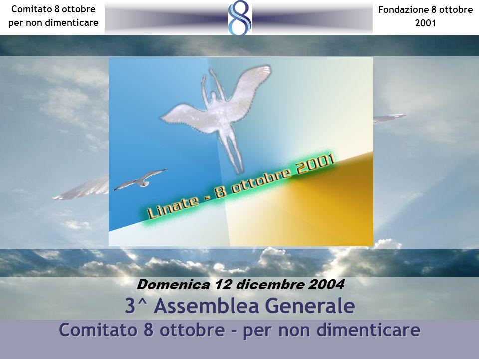 Fondazione 8 ottobre 2001 Comitato 8 ottobre per non dimenticare Domenica 12 dicembre 2004 3^ Assemblea Generale Comitato 8 ottobre - per non dimentic