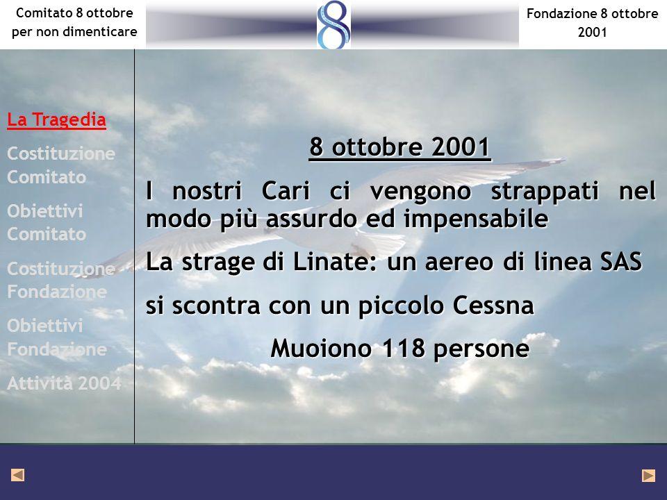 Fondazione 8 ottobre 2001 Comitato 8 ottobre per non dimenticare 8 ottobre 2001 I nostri Cari ci vengono strappati nel modo più assurdo ed impensabile