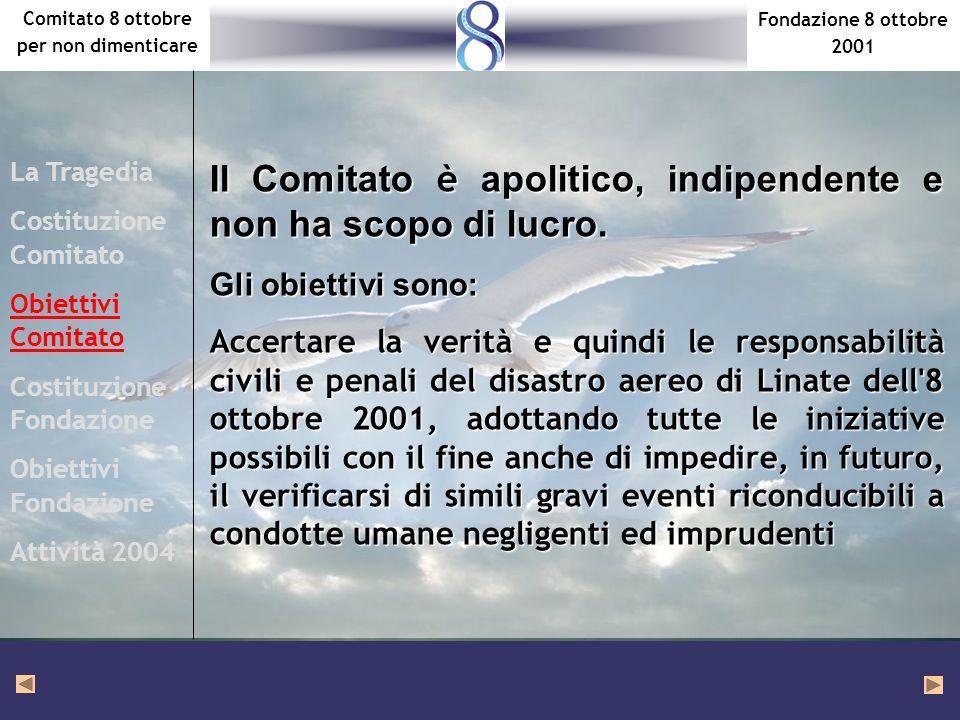 Fondazione 8 ottobre 2001 Comitato 8 ottobre per non dimenticare Il Comitato è apolitico, indipendente e non ha scopo di lucro. Gli obiettivi sono: Ac