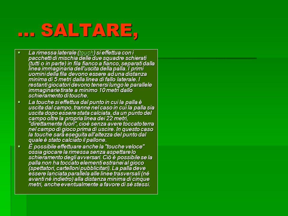 ... SALTARE, La rimessa laterale (touch) si effettua con i pacchetti di mischia delle due squadre schierati (tutti o in parte) in fila fianco a fianco