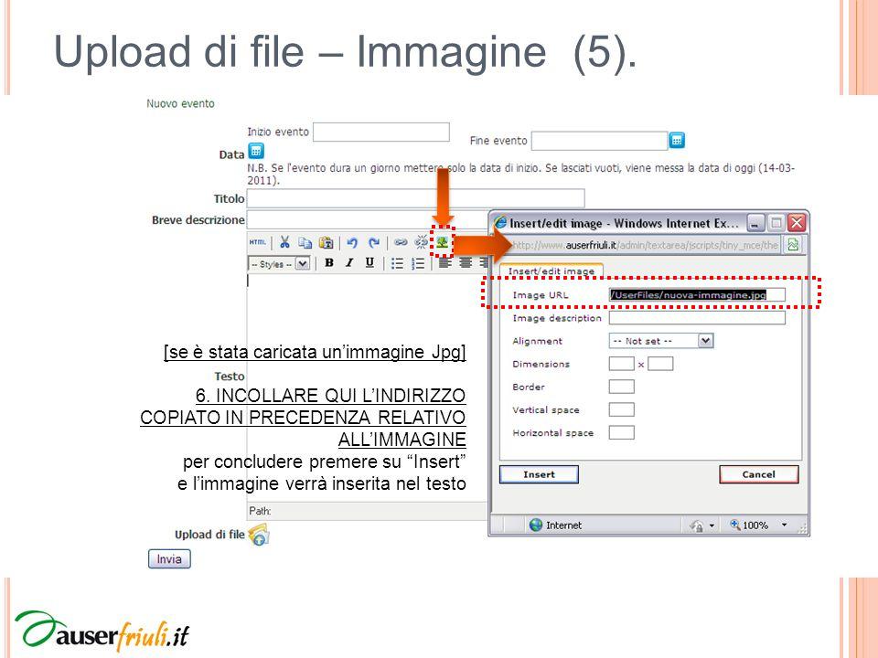 Upload di file – Immagine (5).[se è stata caricata unimmagine Jpg] 6.