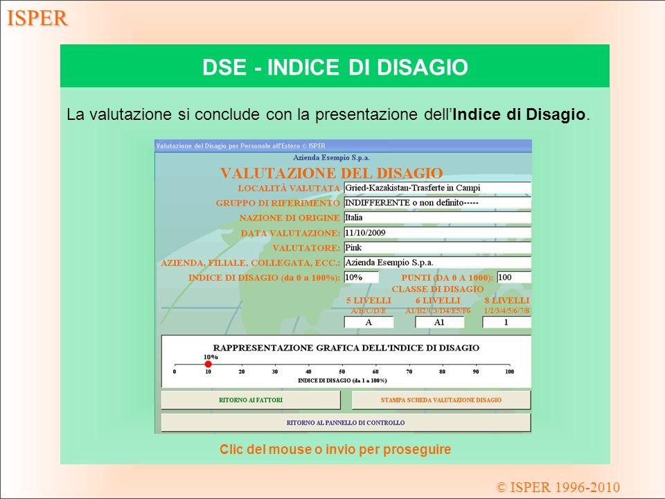 © ISPER 1996-2010 ISPER DSE - INDICE DI DISAGIO La valutazione si conclude con la presentazione dellIndice di Disagio.