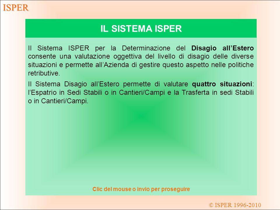 © ISPER 1996-2010 ISPER DSE - NUVOLA DELLE VALUTAZIONI La rappresentazione grafica a nuvola di punti consente un agevole confronto delle situazioni presenti in Azienda.